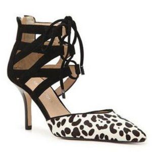 AUDREY BROOKE Hanyaly Snow Leopard Caged Heel Pump